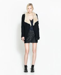 ZARA - TRF - THREE QUARTER LENGTH COAT WITH FAUX FUR COLLAR