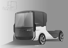 Renault truck for fun. Simple, pure and functional aestetics. Car Design Sketch, Truck Design, Design Cars, Car Sketch, Futuristic Cars, Futuristic Design, Future Trucks, Vanz, Industrial Design Sketch