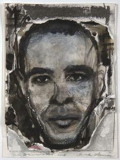 Portrait Barack Obama Encre Marlene Dumas