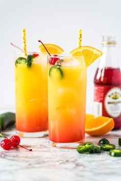 This Tequila Sunrise recipe is made with orange juice, tequila, grenadine and jalapeños for a spicy kick! (Jalapeños are optional if you prefer your drink non-spicy). It's the perfect cocktail for brunch or any celebration! Party Drinks, Cocktail Drinks, Cocktail Recipes, Drinks Alcohol Recipes, Yummy Drinks, Alcoholic Drinks, Beverages, Healthy Drinks, Recipes