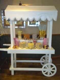 Canopy for candy stand, childrens party, red and white, pink and white stripes, other colors available. Wedding Sweets, Wedding Candy, Wedding Themes, Pink And White Stripes, Red And White, Cake Pops, Candy Stand, Sweet Carts, Candy Cart