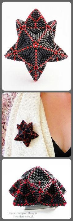A striking three dimensional, geometric, beaded statement brooch. Based around a five point star with a domed centre. One of a kind - £195 #Dani Crompton Designs www.dani-c.co.uk