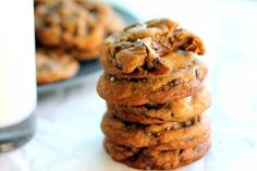 Ambitious Kitchen | Nutella-Stuffed Brown Butter + Sea Salt Chocolate Chip Cookies {my favorite cookie ever}