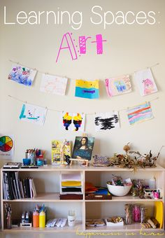 Art Area: open & available materials, sketchbooks & paper, inspiration art books, easy display of creations