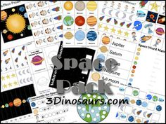 Free Space Pack from 3Dinosaurs.com Over 100 pages of activities for ages from 2 to 7.