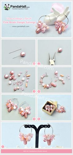 Tutorial on making a pair of pink beads dangle earrings, Big Earrings, Beaded Earrings, Beaded Jewelry, Gothic Jewelry, Jewelry Necklaces, Hoop Earrings, Diy Schmuck, Schmuck Design, Brick Stitch Patterns