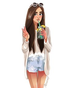 Pin by Nour Anous on Girly illustrations 2 in 2019 Girl Drawing Sketches, Cute Girl Drawing, Cartoon Girl Drawing, Girl Cartoon, Tumblr Drawings, Girly Drawings, Anime Girl Drawings, Girly M, Digital Art Girl