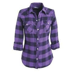 Elisa Flannel Shirt ❤ liked on Polyvore featuring tops, flannel shirts, purple shirt, plaid flannel shirt, flannel button-down shirts and plaid button down shirt