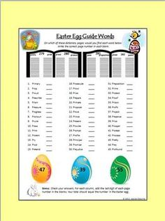 Easter Egg Dictionary Guide Words (alphabetizing) and make-a-word worksheets Grammar Activities, Teaching Resources, English Language, Language Arts, Easter Worksheets, Guide Words, Literacy Centres, How To Get Followers, Early Literacy