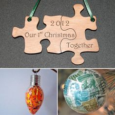 DIY Christmas together puzzle piece ornament.