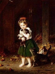 Girl and Kittens Arthur John Elsley Private Collection