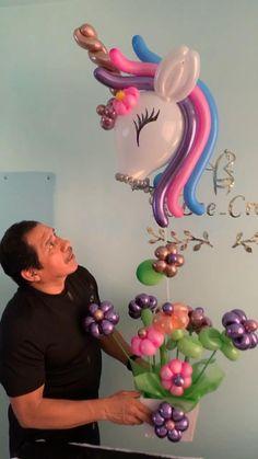 Birthday Balloon Decorations, Balloon Crafts, Balloon Gift, Birthday Balloons, Birthday Party Decorations, Happy Birthday Flower, Unicorn Birthday Parties, Unicorn Party, Balloon Arrangements