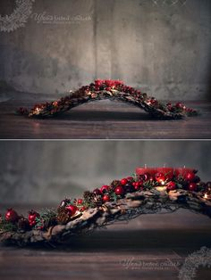 What a creative base for a natural arrangement; driftwood would look perfect. What a creative base for a natural arrangement; driftwood would look perfect. Christmas Mantels, Christmas Candle, Christmas Love, Winter Christmas, Christmas Wreaths, Christmas Projects, Christmas Crafts, Deco Table Noel, Christmas Arrangements