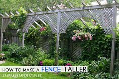 Privacy fence ideas - creative ways to use fences and screens to make your backyard private. Also ways to make an existing fence taller.