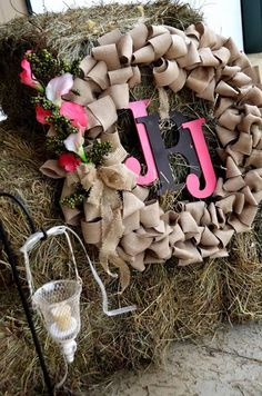 A.S.W. Rustic North Carolina Weddings Burlap Wreath with Bride & Groom Initials ©Amber S. Wallace Photography, North Carolina http://www.facebook.com/amberswallacephotography