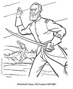 rutherford hayes us president coloring pages