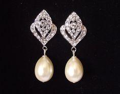 Braut Ohrringe Pearl Hochzeit Ohrringe von nefertitijewelry2009