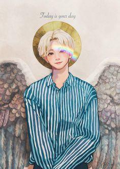 Credit to original artist Art Sketches, Art Drawings, Woozi, Wonwoo, Jeonghan Seventeen, Seventeen Wallpapers, T Art, Bts Chibi, Kpop Fanart