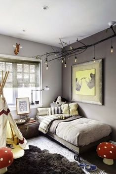 diy celing light fixture of branches is a nice addition to an eclectic kids room – Boy Room 2020