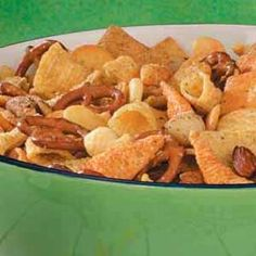Cracker Snack Mix -- I skipped the wheat thins and peanuts and only used 1 1/2 packets of the salad dressing mix --- was a hit for the holiday weekend!