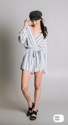 3d3c63de0f04 Willow   Root Striped Romper - Women s Rompers Jumpsuits in White Blue