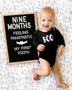 Nine Month Letterboard & Baby's First Tooth – DIY Darlin' Nine Month Letterboard & Baby's First Tooth – DIY Darlin' … Monthly Baby Photos, Baby Monthly Milestones, Baby Milestone Cards, Baby Boy Photos, Newborn Photos, Funny Baby Pictures, Baby Baby, First Baby, Baby Boy Newborn