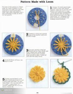 Flor Aplique con Telar - Patrones Crochet#.VBWGg010w5s#.VBWGg010w5s