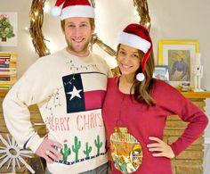 As you get ready for all your holiday parties this year, it can be difficult to find ugly sweater ideas for couples. With the DIY Ugly Christmas Sweater Set all your worries will disappear. We haven't seen DIY ugly Christmas sweaters quite like this.
