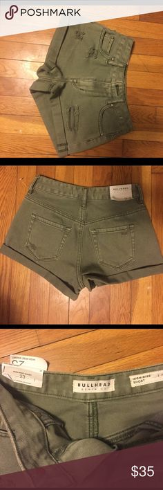 Bullhead high waisted green shorts Brand new with tags, never worn. Fit like a 24. Bullhead Shorts Jean Shorts