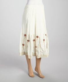 This Cream Embroidered Floral Skirt by Papillon Imports is perfect! #zulilyfinds