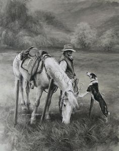 The Grass Is Always Greener -med by Julie Greig - prints New Zealand Landscape, Art Gallery, Gallery Walls, Down On The Farm, Cowboys, Amazing Art, Original Artwork, Camel, Horses
