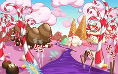 Sweet Landscape by Elixia-Dragmire Create This Book, Candy House, Candy Art, Cute Games, Holiday Candy, Landscape Drawings, Surreal Art, Elementary Art, Christmas Art