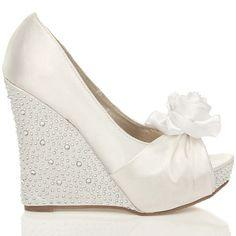 Womens Wedding Platform Wedge Ladies Bridal Sandals Evening Prom Shoes Size