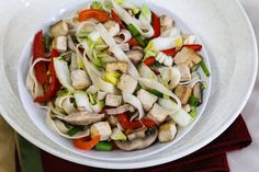 Vegan Asian Noodles with Napa Cabbage, Tofu, and Mushrooms Recipe   VegKitchen.com