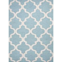 We love the eye-catching geometric pattern of this pale blue rug. | $108