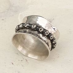 Meditation ring top Handmade Sterling Silver, Sterling Silver Rings, Silver Jewelry, Meditation Rings, Wide Band Rings, Spinner Rings, Bracelets, Top, Bangles