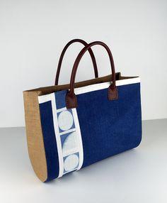 Natural indigo shibori hand dyed minimalist design handbag by Little m Blue.