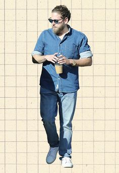 f3ed9b8293d Jonah Hill wearing double denim Man Closet