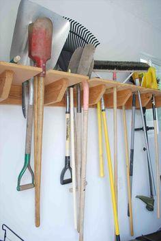 40 DIY Garden and Yard Tool Storage Ideas – Gardening Tools Yard Tool Storage Ideas, Garage Tool Storage, Garden Tool Organization, Shed Storage, Organization Ideas, Lumber Storage Rack, Organising Ideas, Diy Storage, Tool Hangers