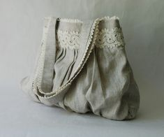lace and linen tote  beautiful, elegant and very useful.