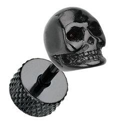 Blackline Death Skull Surgical Steel Fake Plug - 16 GA - Black - Sold as a Pair - Sold as a Pair Fake Plugs, Plugs Earrings, Surgical Steel Earrings, Cufflinks, Death, Skull, Pairs, Accessories, Jewelry