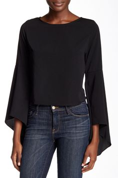 Bell Sleeve Woven Crop Top by Painted Threads on @nordstrom_rack