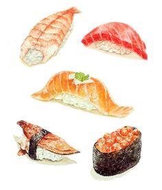 Sushi on Behance Cute Food Art, Love Food, Food Art Painting, Sushi Art, Sushi Sushi, Food Sketch, Food Cartoon, Watercolor Food, Japon Illustration