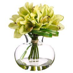 Create a lush tablescape or charming vignette with this lovely faux cymbidium arrangement, showcasing vibrant blossoms nestled in a timeless glass vase. Flower Planters, Flower Vases, Flower Art, Green Flowers, Silk Flowers, Large Glass Vase, Artificial Orchids, Silk Floral Arrangements, Cymbidium Orchids