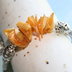 Bangle Bracelet with Gold Mother of Pearl and Fun Tropical Charms in Silver by Maru