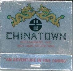 Chinatown Restaurant Youngstown, Ohio #matchbook  silver foil cover To design & order your business' #matches GoTo: GetMatches.com Today!