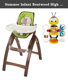 Summer Infant Bentwood High Chair with High Chair Toy. The Bentwood High Chair provides a beautiful, safe place for your baby to eat during mealtime. Featuring a 3 position recline, 4 position height adjustable seat, compact fold and extended use as an up to the table booster for toddlers, it is the only highchair you will need from birth to 50lbs. Comes with a High Chair Toy with six play features which keeps baby busy with the bee. It suctions to any smooth, flat surface. The friendly…