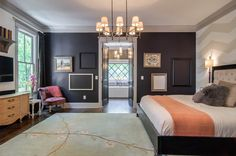 transitional bedroom by Millworks Designs grey wall is Dutch Licorice 4008-4C by Valspar