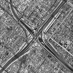 Bird's eye view photographs of Los Angeles, from the Oblivion series, Black Maps projects by American photographer David Maisel.