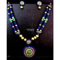 Terracotta Antique Necklace Set – Blue & Green